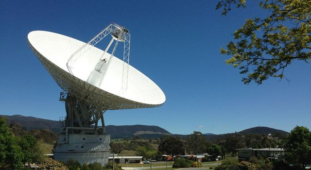 DSS43 is a 70-meter-wide (230-feet-wide) radio antenna at the Deep Space Networks Canberra facility in Australia.