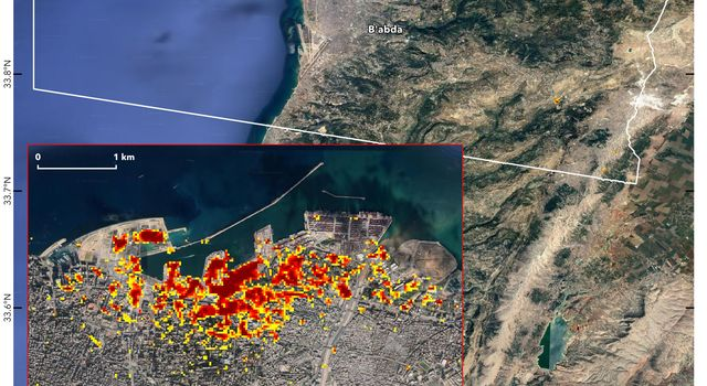 NASAs ARIA team, in collaboration with the Earth Observatory of Singapore, used satellite data to map the extent of likely damage following a massive explosion in Beirut.