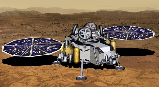 Mars Sample Return Lander With Solar Panels Deployed (Artist