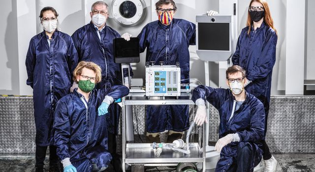 Some of the dozens of engineers involved in creating a ventilator prototype specially targeted to coronavirus disease patients at NASAs Jet Propulsion Laboratory in Southern California.