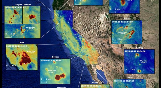 Throughout the month of September 2020, NASAs ECOsystem Spaceborne Thermal Radiometer Experiment on Space Station (ECOSTRESS) imaged multiple wildfires across the state of California.