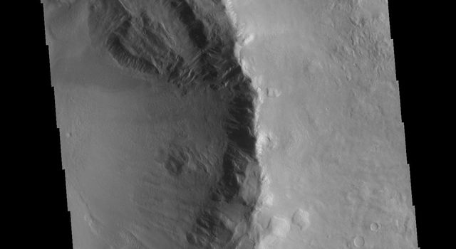 This image from NASAs Mars Odyssey shows half of an unnamed crater in Utopia Planitia.