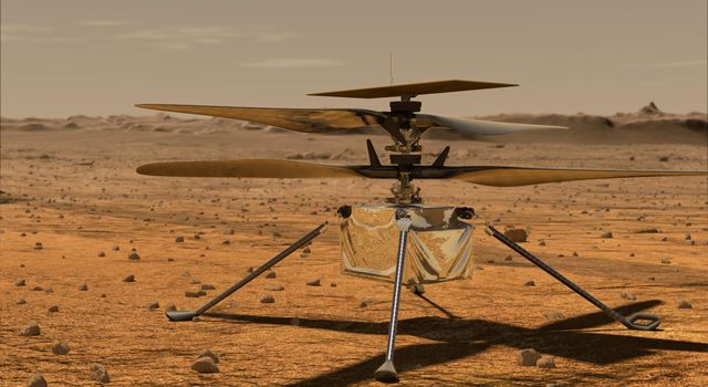 This artists concept shows the Mars 2020 Helicopter on the Martian surface.