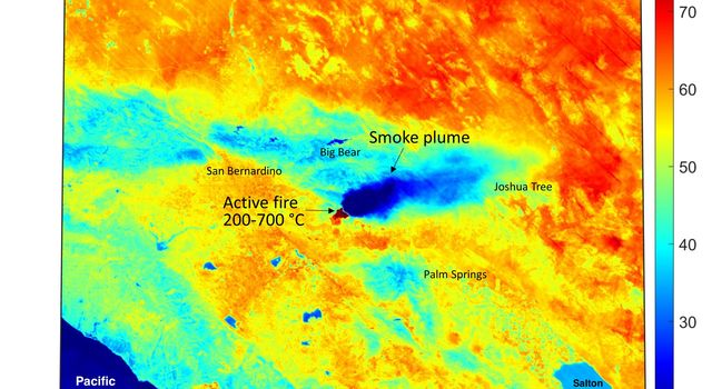 This ECOSTRESS temperature map shows the dry vegetation surrounding the Apple fire that was raging in Southern California on Aug. 1, 2020.