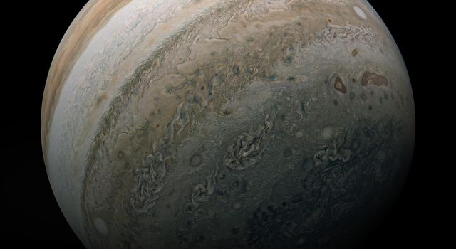 NASAs Juno mission captured this look at the southern hemisphere of Jupiter on Feb. 17, 2020, during the spacecrafts most recent close approach to the giant planet.
