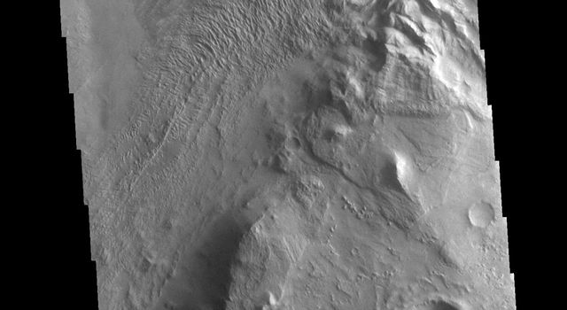 This image from NASAs Mars Odyssey shows Melas Chasma. The linear and arcuate features at the top of the image are on the surface of a large landslide.