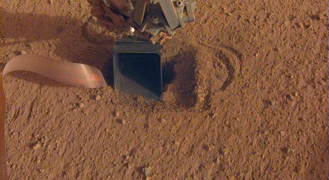 The movement of sand grains in the scoop on the end of NASA InSights robotic arm suggests that the spacecrafts self-hammering mole had begun tapping the bottom of the scoop while hammering on June 20, 2020.