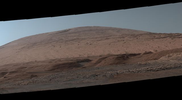 The Mast Camera, or Mastcam, on NASAs Curiosity Mars rover used its telephoto lens to capture Mount Sharp in the morning illumination on Oct. 13, 2019.