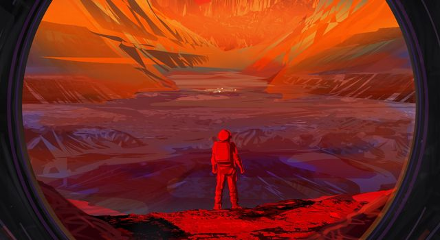 NASA Astronaut Stands on Mars (Illustration)