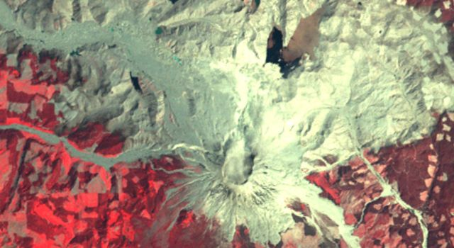 NASAs Terra spacecraft shows Mount St. Helens, Washington, just after its eruption on May 18, 1980, 40 years ago.