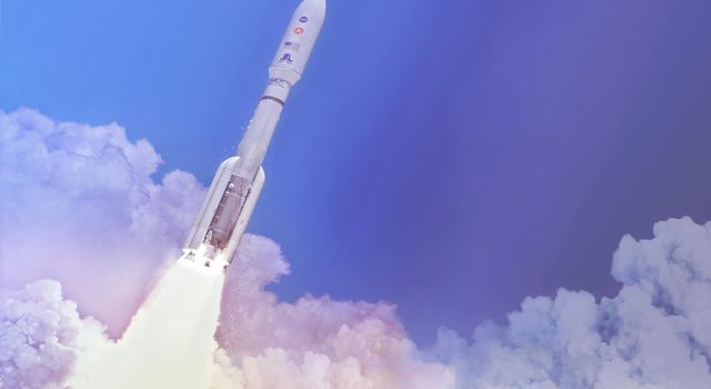 In this artists concept, a two-stage United Launch Alliance Atlas V launch vehicle speeds the Mars 2020 spacecraft toward the Red Planet. This will be NASAs fifth Mars launch on an Atlas V.