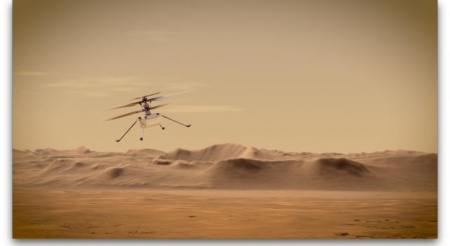 An artists concept of NASAs Ingenuity Mars Helicopter flying through the Red Planets skies.