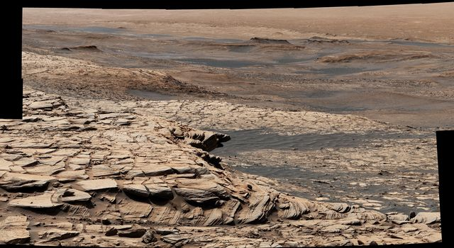Stitched together from 28 images, NASAs Curiosity Mars rover captured this view from Greenheugh Pediment on April 9, 2020.