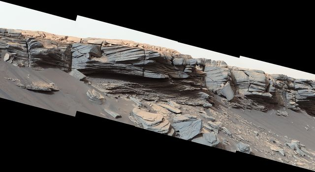 Curiosity Finds Nodules near the Top of Pediment Slope