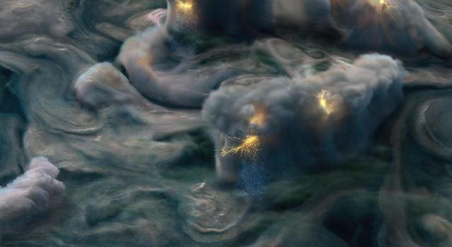 This illustration uses data obtained by NASAs Juno mission to depict high-altitude electrical storms on Jupiter.