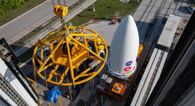 NASAs Mars 2020 Perseverance rover waits to be lifted onto its Atlas V launch vehicle at the Cape Canaveral Air Force Station in Florida on July 7, 2020.