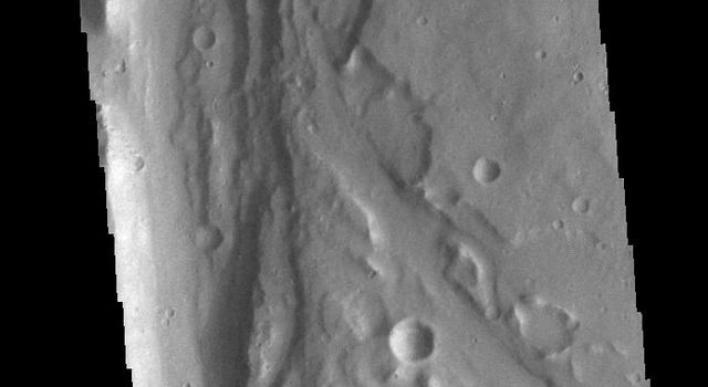 This image from NASAs Mars Odyssey shows a section of unnamed channel located at the margin where large northward flowing channels enter Chryse Planitia.
