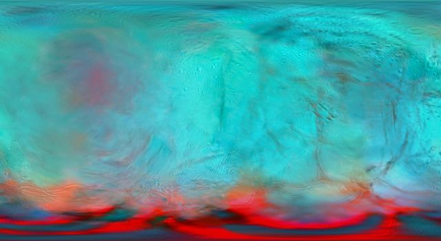 This infrared global map of Saturns icy moon Enceladus was created using images acquired by NASAs Cassini spacecraft.