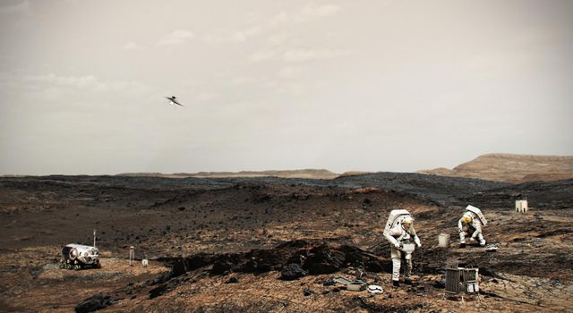 NASA Astronauts on Mars With Helicopter (Illustration)