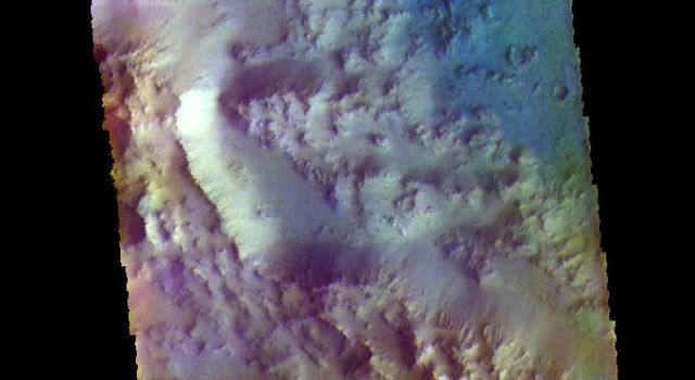 Hesperia Planum Crater - False Color