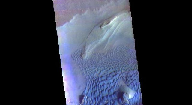 This image from NASAs Mars Odyssey shows part of Rabe Crater.