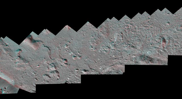 Dawn Stereo Anaglyph of Southeast Floor and Rim of Occator Crater, Ceres