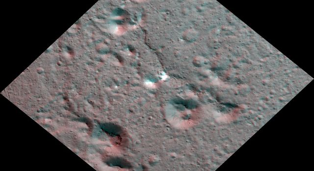 Dawn Stereo Anaglyph of Hydrothermal Deposits at Occator Crater, Ceres