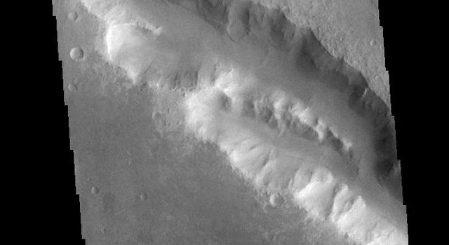 This image from NASAs Mars Odyssey shows a section of Her Desher Vallis. This channel is located in Noachis Terra. Her Desher is the Egyptian word for Mars.