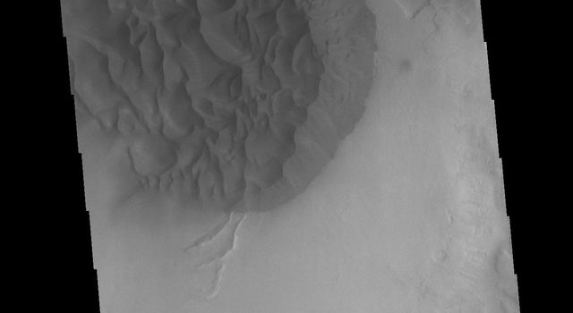 This image from NASAs Mars Odyssey shows a sand sheet with surface dune forms on the floor of an unnamed crater in Noachis Terra.