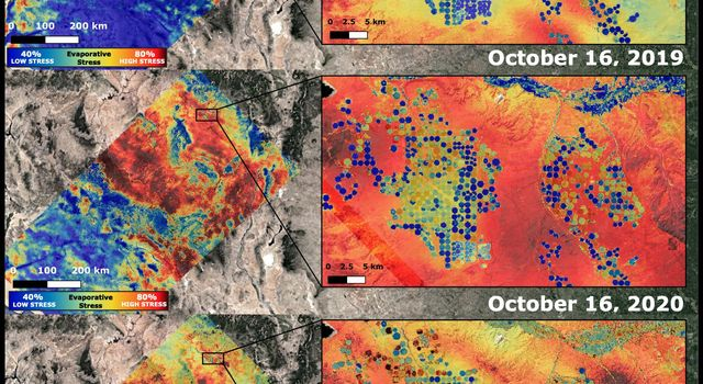 NASAs ECOsystem Spaceborne Thermal Radiometer Experiment on Space Station (ECOSTRESS) imaged the Western United States drought on Oct. 16, 2020, and compared the same area to an image from ECOSTRESS taken a year earlier on Oct. 16, 2019.