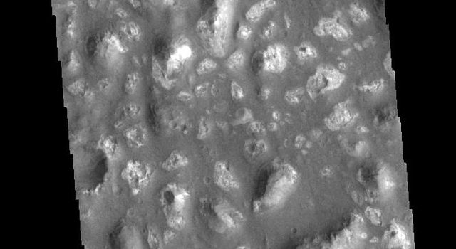 This image from NASAs Mars Odyssey shows a region of hills in the plains of Terra Cimmeria.