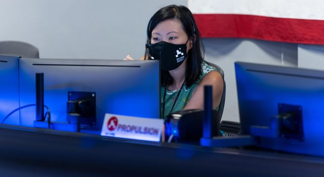 Propulsion Lead Rebekah Lam participates in Perseverances second trajectory correction maneuver at NASAs Jet Propulsion Laboratory in Southern California.
