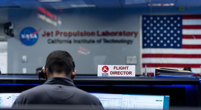 Flight Director Matt Smith studies the data during the second post-launch trajectory correction maneuver during Perseverances cruise to Mars.